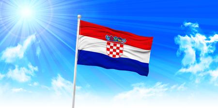 bandera croacia: Bandera de Croacia fondo del cielo