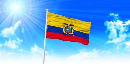 ecuador: Ecuador Flag sky background
