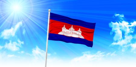 cambodia: Cambodia Flag sky background