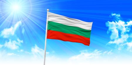 bulgaria: Bulgaria Flag sky background Illustration