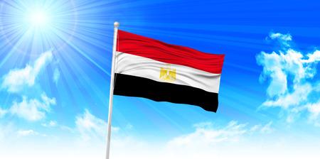bandera de egipto: Bandera de Egipto fondo del cielo