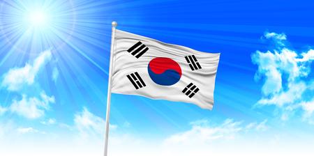 korea flag: Korea Flag sky background Illustration
