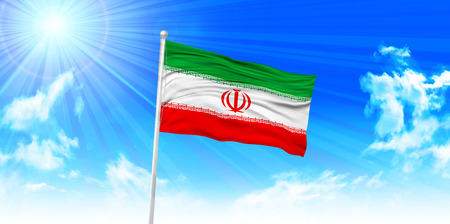 iran: Iran Flag sky background Illustration