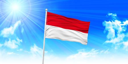 インドネシアの国旗上空の背景  イラスト・ベクター素材