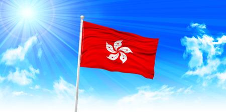 sky sun: Hong Kong Flag sky background