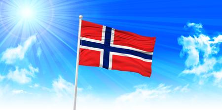 norway flag: Norway Flag sky background Illustration