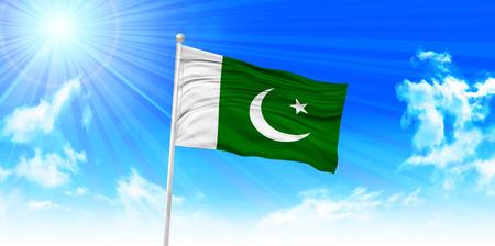 pakistan flag: Pakistan Flag sky background Illustration