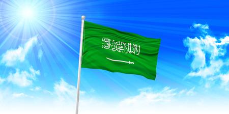 saudi arabia: Saudi Arabia Flag sky background Illustration