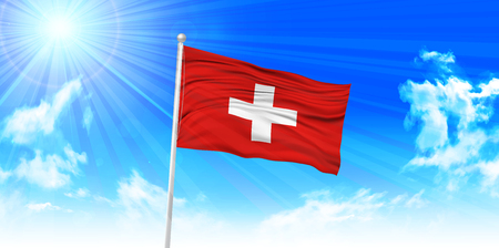 switzerland flag: Switzerland Flag sky background