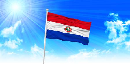 bandera de paraguay: Bandera de Paraguay cielo de fondo Vectores