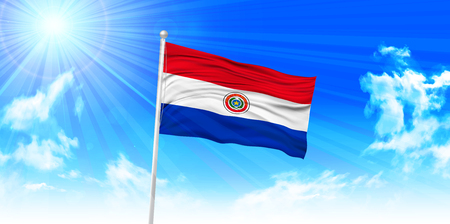 paraguay: Paraguay Flag sky background Illustration