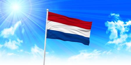 netherlands flag: Netherlands Flag sky background Illustration