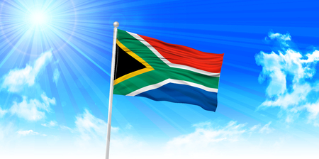 south africa flag: South Africa Flag sky background