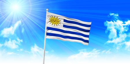 bandera uruguay: Bandera de Uruguay fondo del cielo