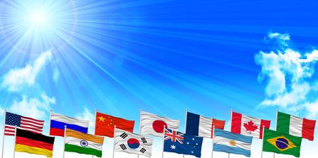 bandera rusia: Banderas cielo de fondo del paisaje