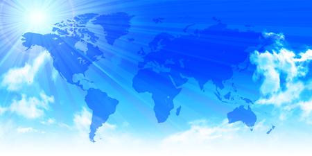空の世界の風景の背景  イラスト・ベクター素材