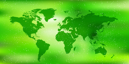 early summer: World map fresh green landscape background Illustration