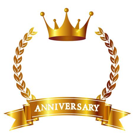 Crown Anniversary lint pictogram Stock Illustratie