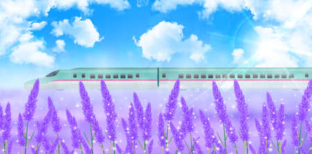 shinkansen: Lavender Hokkaido landscape background Illustration