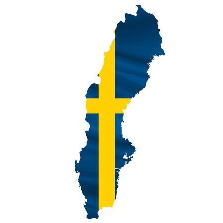 bandera suecia: icono del mapa de la bandera de Suecia Vectores