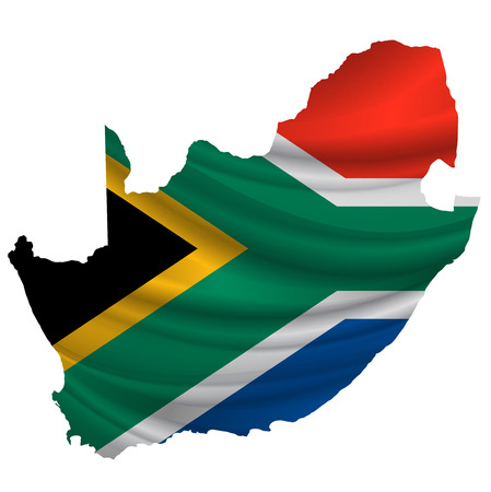 south africa flag: South Africa Flag map icon Illustration
