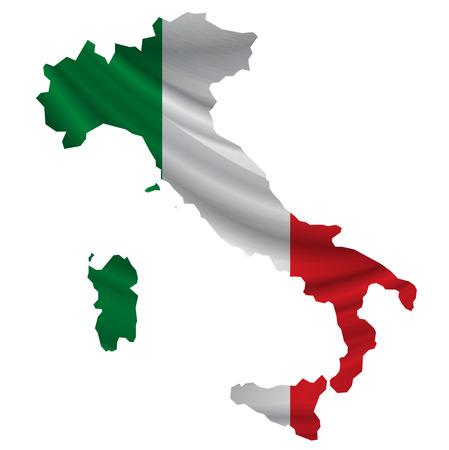 Italië Vlag kaart pictogram Stock Illustratie