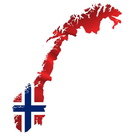 Norwegen-Flaggen-Karte Symbol