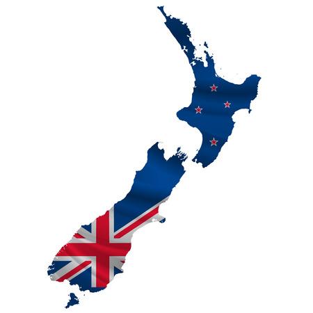 Nieuw-Zeeland Vlag kaart icoon Vector Illustratie