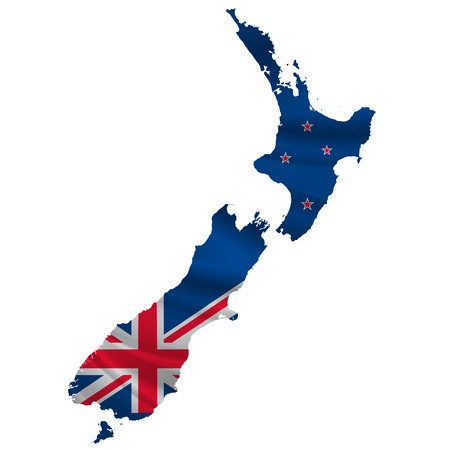 nuevo icono del mapa Bandera de Nueva Zelanda Ilustración de vector