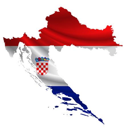 bandera croacia: icono del mapa de la bandera de Croacia Vectores