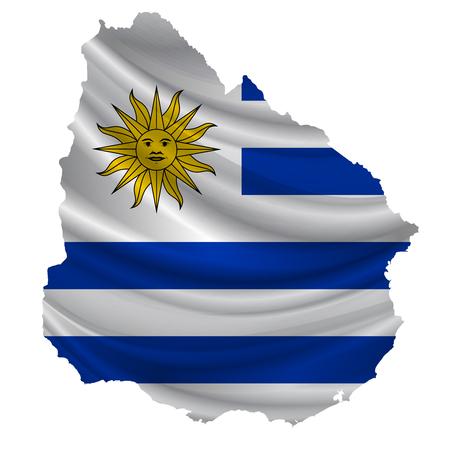 bandera de uruguay: icono del mapa de la bandera de Uruguay Vectores