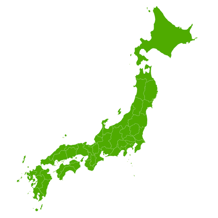 Japan map green icon