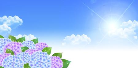 season: Hydrangea rainy season landscape background Illustration