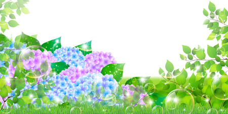 grasslands: Hydrangea rainy season landscape background Illustration