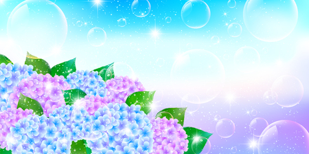 early summer: Hydrangea rainy season landscape background Illustration