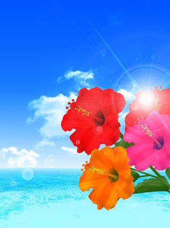 Hibiscus fondo paisaje del mar