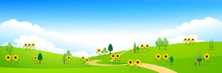 ひまわりの夏風景の背景
