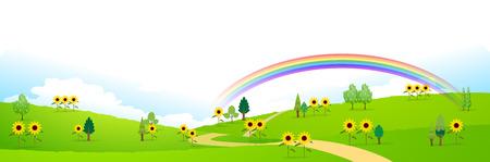 grasslands: Sunflower summer landscape background Illustration