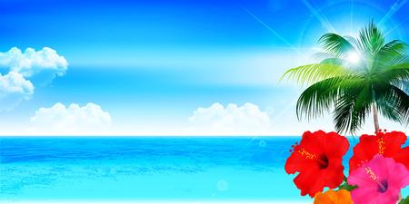 sea landscape: Hibiscus sea landscape background Illustration