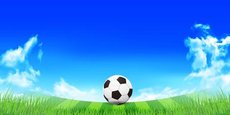 blue ball: Soccer sky landscape background