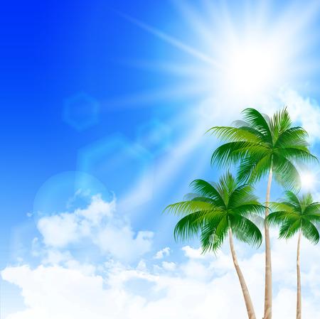 sky sun: Sea summer landscape background