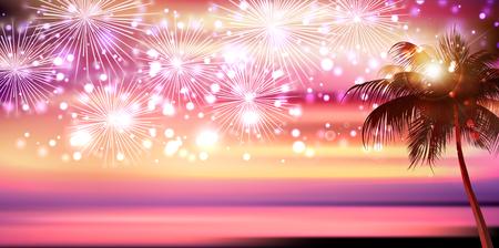 Sea fireworks landscape background Иллюстрация