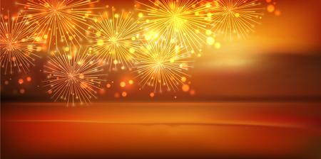 Sea fireworks landscape background Illustration