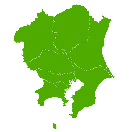 kanagawa: Kanto map green icon