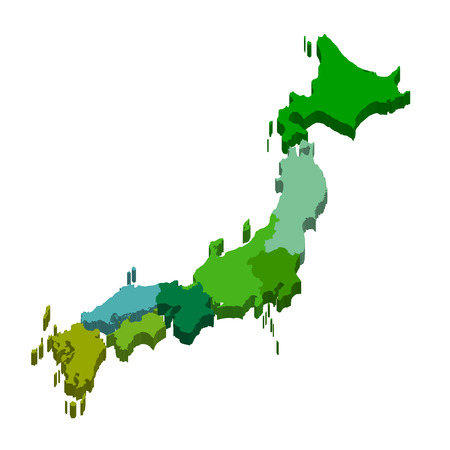 kanto: Map Japan country icon Illustration