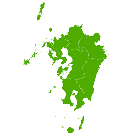 Kyushu map green icon