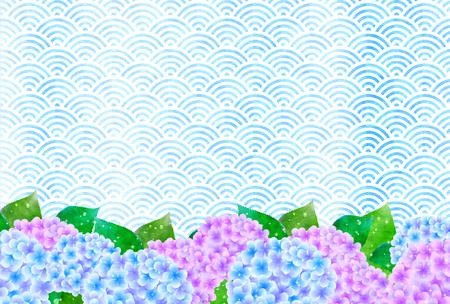 season: Hydrangea flowers rainy season background Illustration