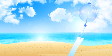 wind chimes: Wind chimes sea summer background
