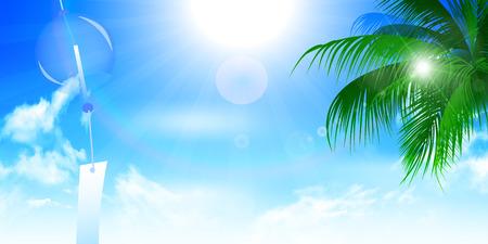 blue sea: Wind chimes sea summer background