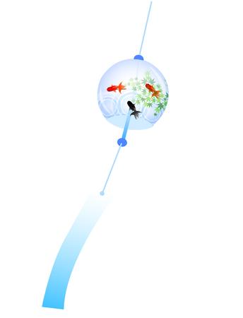 Wind chimes goldfish summer icon  イラスト・ベクター素材